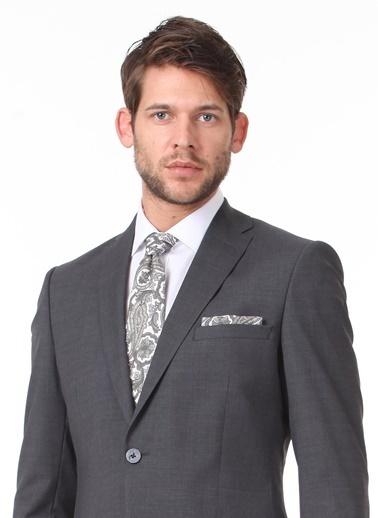 Kip Kip Slim Fit Mono Yaka Uzun Kol Düz Desenli Erkek Takım Elbise Antrasit